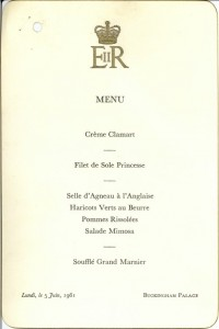 Menu for JFK's visit to Buckingham Palace