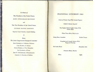 JFK Inauguration Luncheon Menu