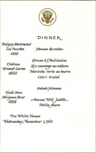 Presidential Dinner Menu