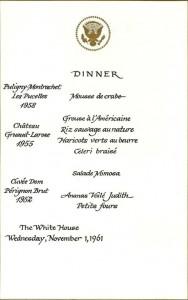 Presidential Dinner Menu