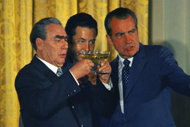 President Nixon and Leonid Brezhnev toast with Champagne after signing ...