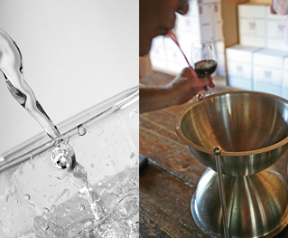 Water and Spittoons for your wine tasting