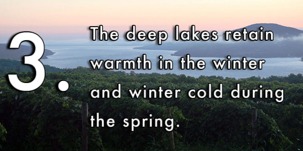 The deep lakes retain warmth in the winter and winter cold during the spring.