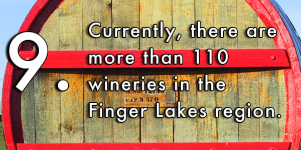 Currently, there are more than 110 wineries in the Finger Lakes region.