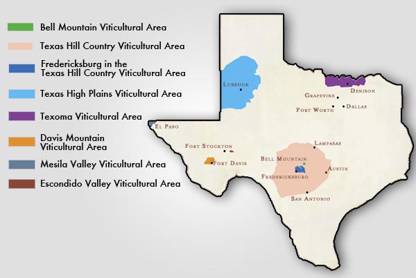 Texas AVA wine map