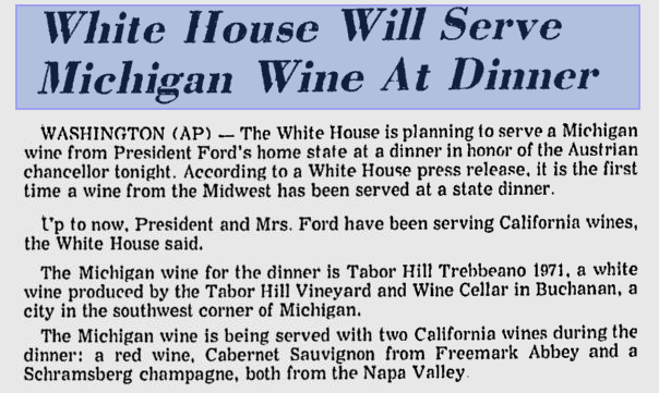 Article about Michigan wine at the White House