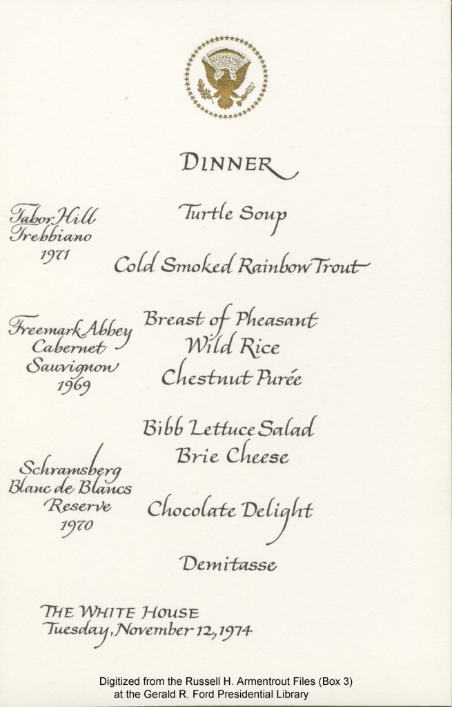 menu Austria 11/12/1974