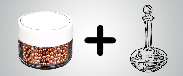 Use copper balls to clean decanters