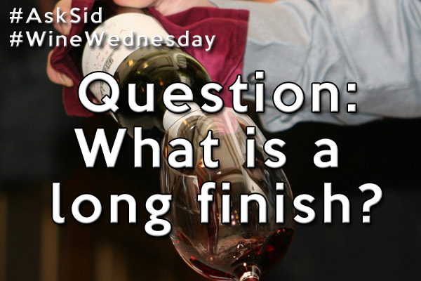 In wine, what is a long finish?