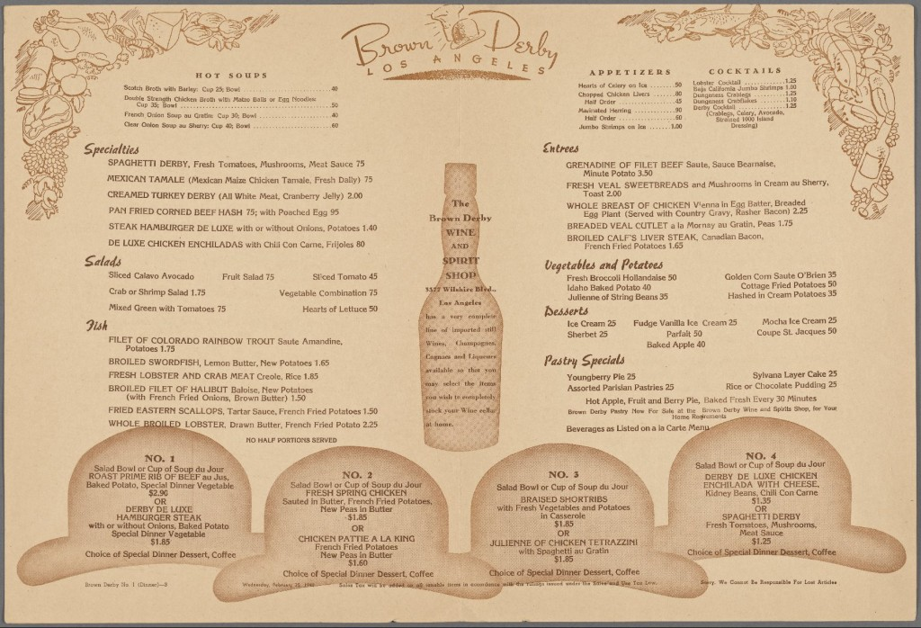 Menu 1948 Brown Derby