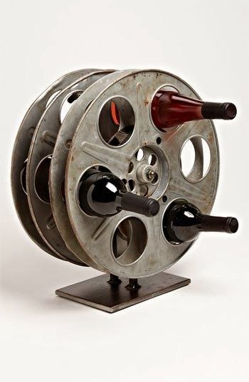 Wine rack made from a film reel
