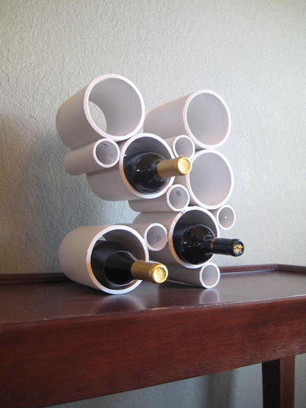 PVC pipes wine rack