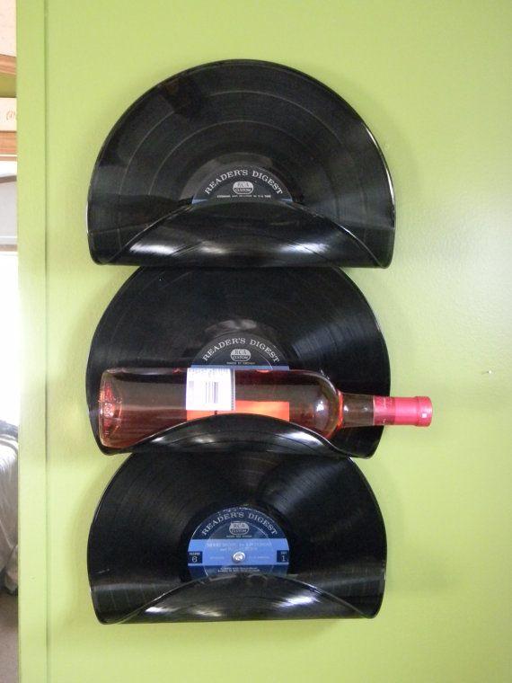 Wine rack made from warped vinyl