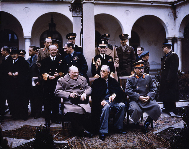 Roosevelt, Churchill and Stalin meeting at Yalta