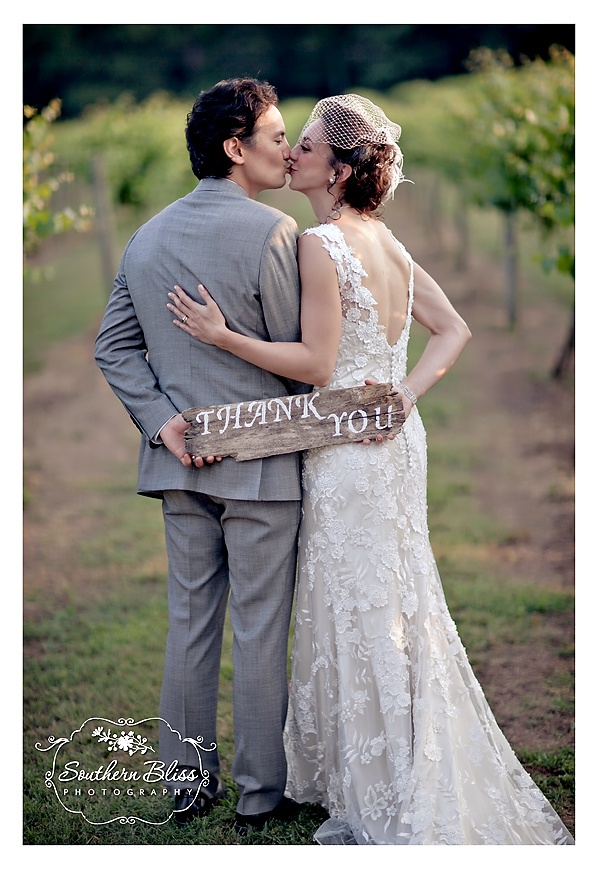 Wedding thank you at a vineyard