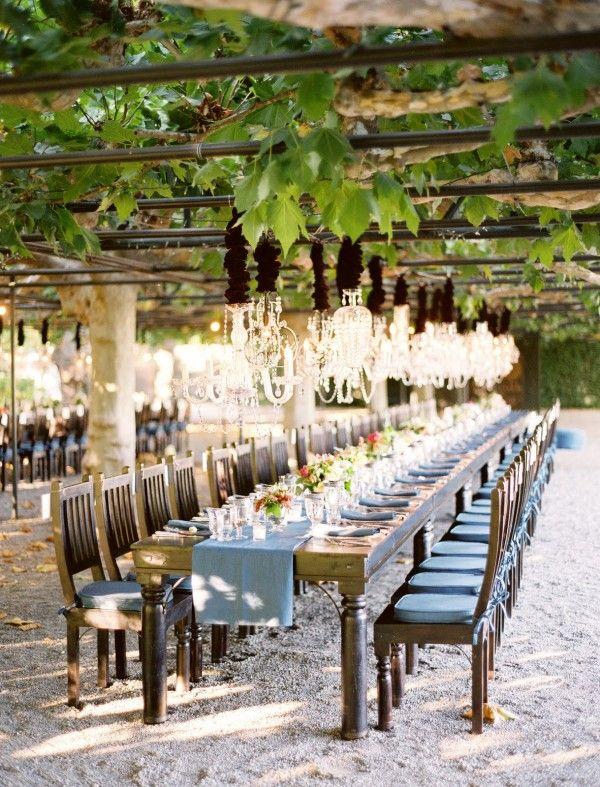 Table setting at a vineyard wedding