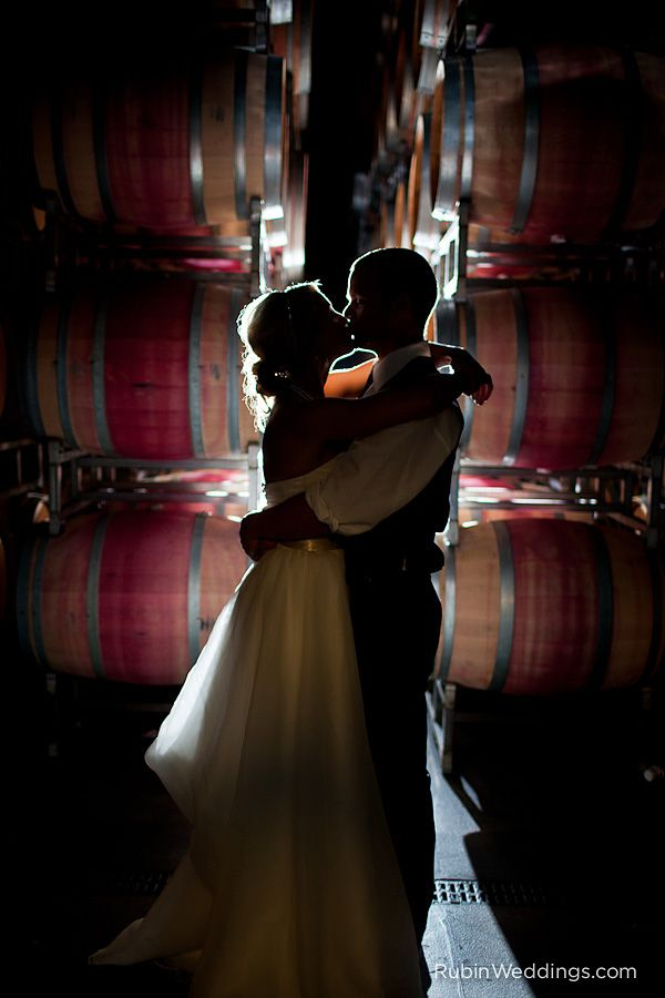 Wedding kiss at a winery