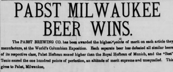 Pabst wins at the world's fair