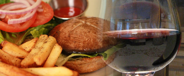 Portobello Burger and Pinot Noir