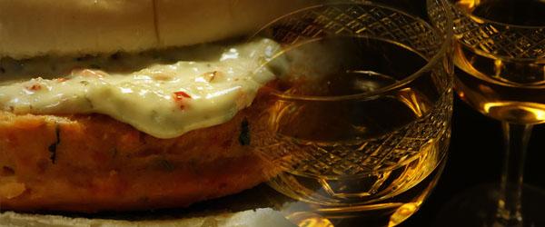 Salmon Burger and Chardonnay
