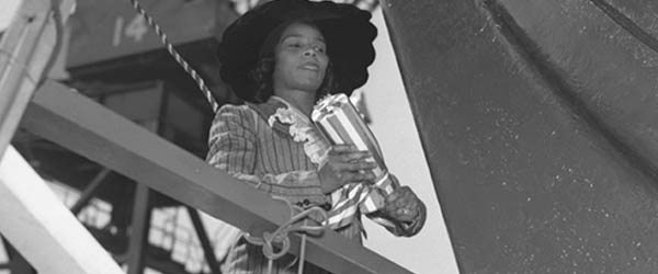 Marian Anderson christening a ship