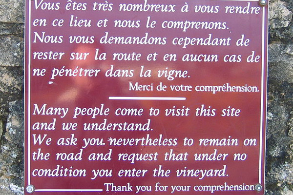 Sign outside La Romanée-Conti