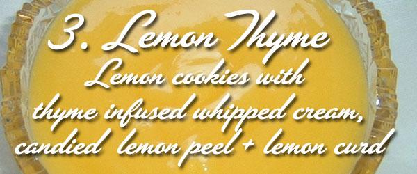 lemon cookies with thyme infused whipped cream, candied lemon peel, lemon curd