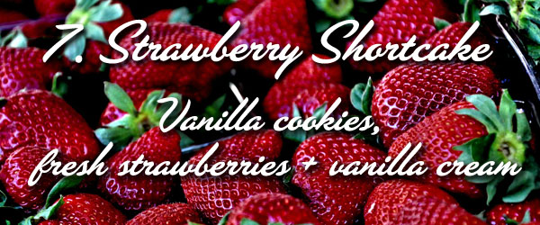 vanilla cookies, fresh strawberries sliced, vanilla cream
