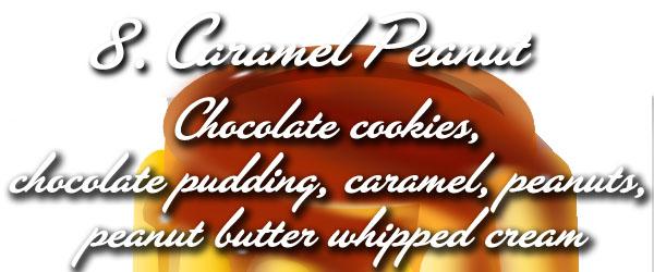 caramel peanut - chocolate cookies, chocolate pudding, caramel, peanuts, peanut butter whipped cream