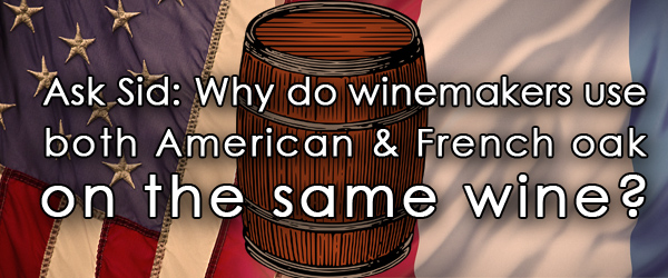 French and American oak wine barrels