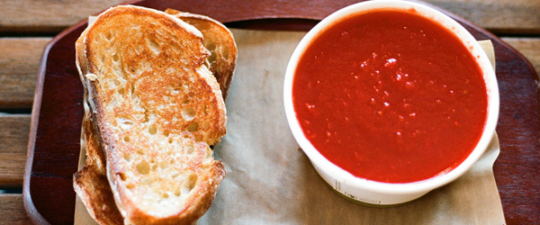 What wine should I pair with tomato soup and grilled cheese sandwiches?